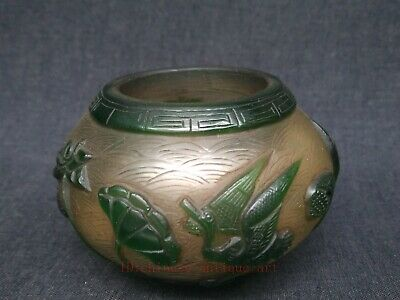 Collected China Old Glass Manual Carving Lotus Leaf Crane Water Washing Bowl Cup