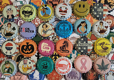 100 Mixed Homebrew Beer Bottle Crown Caps (85 Designs!) Rare Unique Home Brew