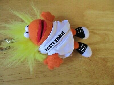 """Just For Laughs Party Animal 6"""" Plush Stuffed Chants """"Party"""" Laughs Key Chain"""