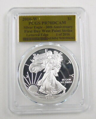 2016 W US 30th Anniv First Day American Silver Eagle Proof Coin PCGS PR70DCAM