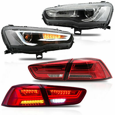 Upgraded SPRAY LACQUER Headlights+RED CLEAR Taillights for 2008-2017 Lancer