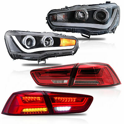 Customized LED Headlights with DUAL BEAM+RED CLEAR Taillights for 08-17 Lancer