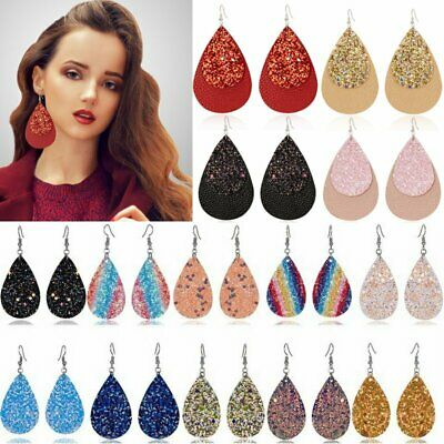 Double Sides Sequins Leaf Real Leather Earrings Ear Stud Dangle Hook Drop Gift