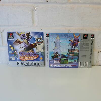 Box Art Insert Artwork Inlays For Ps1 Spyro Year Of The Dragon Game - Platinum