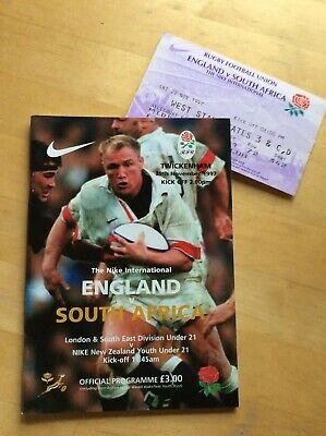 ENGLAND RUGBY UNION PROGRAMME v SOUTH AFRICA 1997 & TICKET