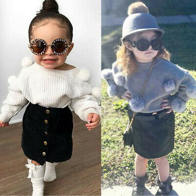 2PCS Toddler Kid Baby Girl Hairball Knit Long Sleeve Tops Solid Skirt Outfit Set