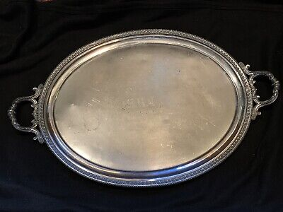 LARGE Rogers 1884 Antique OVAL  Silverplated Serving Handled Tray Victorian