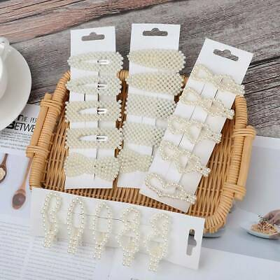 5PCS/Pack Pearl Hair Clips Barrettes Cute Gift For Women Hairpins Accessories UK