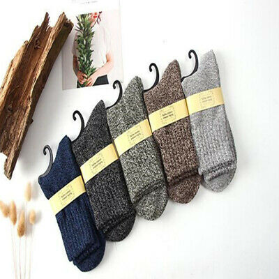 5 Pairs Men Wool Cashmere Thick Winter Warm Soft Solid Casual Sports Socks