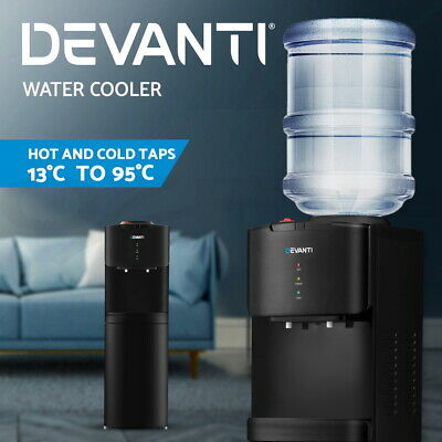 Devanti Water Cooler Dispenser Mains Bottle Stand Hot Cold Tap Office Black