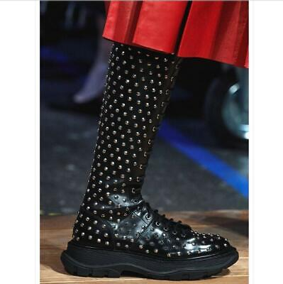 Women Rivets Mid Calf Knee High Boots Motorcycle Punk Creeper Real Leather Shoes