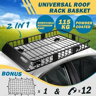Universal Steel Car Roof Rack Basket Extra-long Car Carrier w/6inch Walls Black