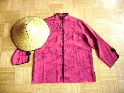 @Chinese@ Tunic Red-Black Cherry Blossom Satin + Hat Size 42/44 Size XL/XXL
