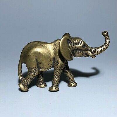 Collectible Vintage Chinese Old Solid Brass Handwork Elephant Ornament Statue