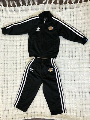 Adidas Lakers  Black w/ White Stripes Track Suit For Size 24 Mo Boy Or Girl