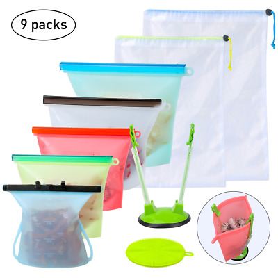 Reusable Silicone Food Storage Bags Set Seal Food Preservation Bags,Food Grade