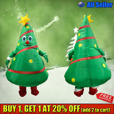 New Funny Inflatable Christmas Tree Costume Blowup Party Cosplay Fancy Dress YCJ