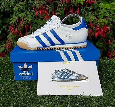 adidas Originals Rom City Series Mens Retro White Blue Leather Trainers EE4941