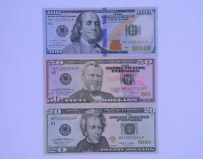 Prop Money For Creative Projects 100$ 50$ and 20$ Bills Mix and Match
