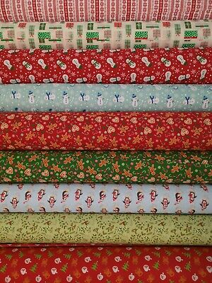 Polycotton Christmas Fabric Metre Material Sewing Craft