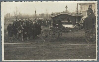 Rare 1930's Real Photo Funeral Processions Coffin Mourning Carriage