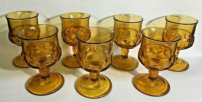 Vintage Anchor Hocking Amber Drinking Glasses Honey Gold Footed Stemware Bubbled