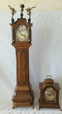 Warmink Miniature Clock Mantel Shelf Longcase Moon Dial 8 Day Key Wind 77cms