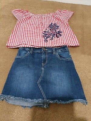 Zara Girls Top And Denim Skirt Outfit Age 7 Years Party Holiday