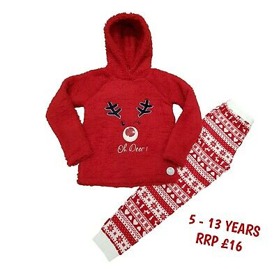 Boys Girls Kids Christmas Xmas PJs Pyjamas Loungewear Jumper Outfit Warm Gift