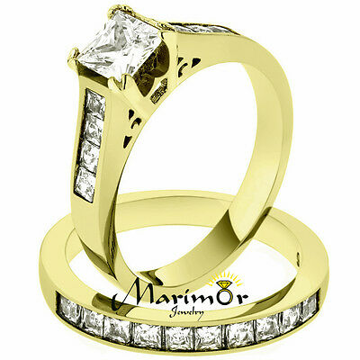 Stainless Steel 2.50 Ct Princess Cut Zirconia 14K Gold Plated Wedding Ring Set