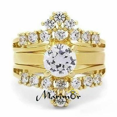 1.88 Ct Cz 14K Gold Plated Stainless Steel 3 Piece Wedding Ring Set Sizes 5-10