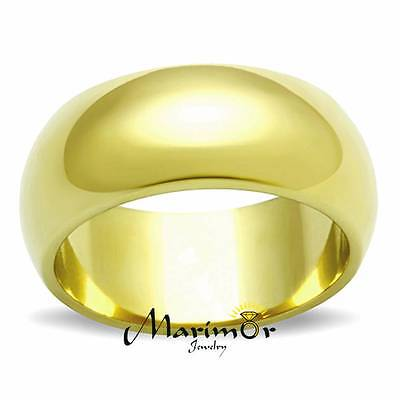 STAINLESS STEEL 316, 14K GOLD ION PLATED 8mm WIDE WEDDING BAND WOMENS SIZES 5-10