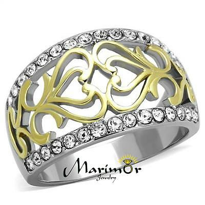 Womens Stainless Steel Two Toned 14k Gold Plated Celtic Crystal Anniversary Ring