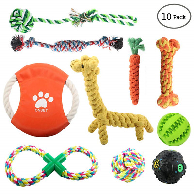 onbet 10pcs Puppy Chew Toys Dog Teething Training, Cotton Puppies Rope Toy for