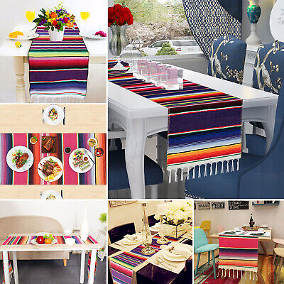 Mexican Serape Table Runner Tassel Tablecloth Cover Wedding Party Home Decor US