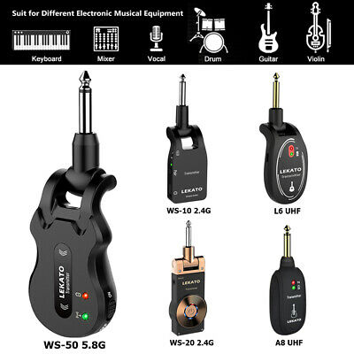 Lekato WS-20 Wireless Guitar System Super Stable Signal 2.4G 180 Degree Rotation