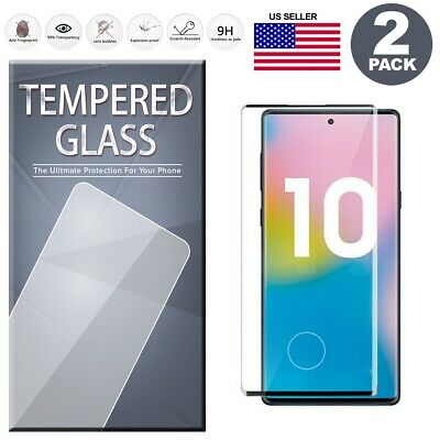 Fingerprint Cutout Tempered Glass Screen Protector 2Pack For Samsung Note 10/10+