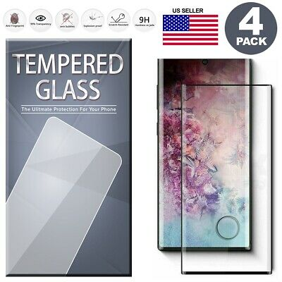 Fingerprint Cutout Tempered Glass Screen Protector 4Pack For Samsung Note 10/10+