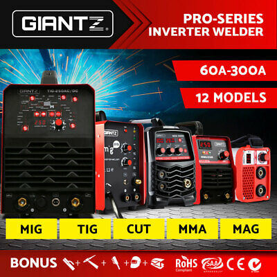 Giantz Inverter Welder Pulse TIG MIG MMA Welding Machine DC Cutter Gas Portable