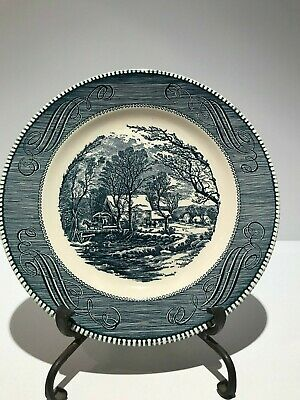 "Vintage Currier and Ives ""The Old Grist Mill"" by Royal Blue 10"" Dinner Plate"