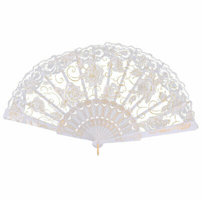 Festival Party Organza Rose Printed Cooling Handheld Hand Fan 1.3 Inch Width