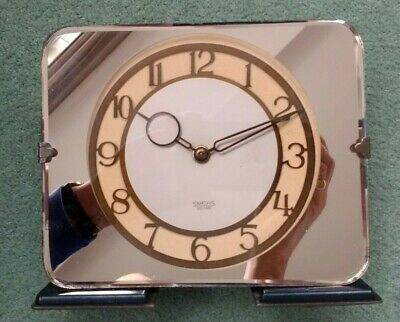 Smiths - ART DECO PEACH MIRRORED GLASS - Electric MANTLE CLOCK