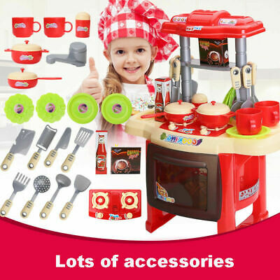 Electronic Children Kids Kitchen Cooking Role Play Retend Toys Set Girl Boy Gift