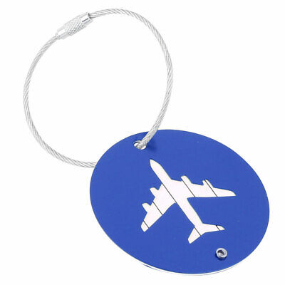Traveling Aluminium Alloy Round Shaped Airport Luggage Handbag Name Tag Blue