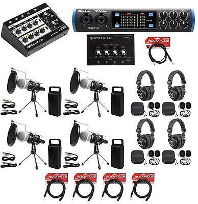 4-Person Podcast Podcasting Recording Bundle w/STUDIO 68C Interface+Mics+Stands