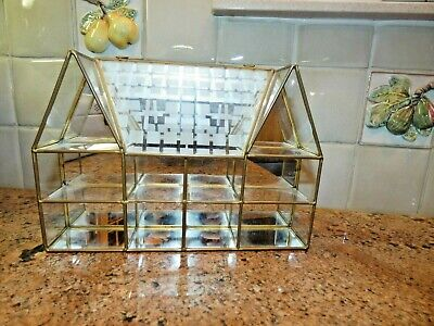 Vintage Brass & Glass House Shaped Curio Display Cabinet Shelf Mirrored