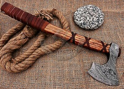 "Viking Battle Axe ""Moonlit Maul"" Handmade Damascus Steel"