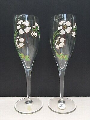 Pair Perrier Jouet Champagne Flutes Glasses Made in France Belle Epoque Anemone