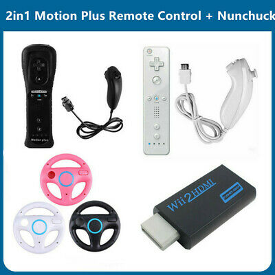 2in1 Motion Plus Remote Control + Nunchuck Controller for Nintendo Wii Game vt
