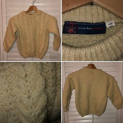 Hand Knit Cream Aran Wool Fishermans Jumper Cable Size 74cm 4-5 Years Childs